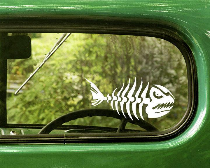 2 angry fish decal skeleton stickers