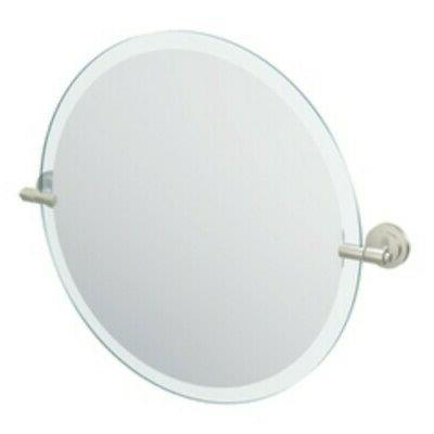 22 round mirror brushed nickel