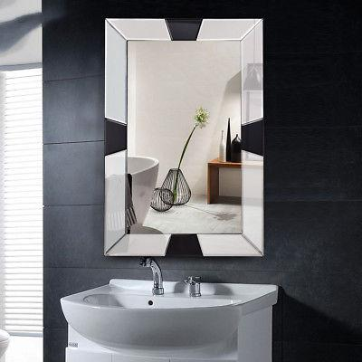 "23.5"" 35.5"" Wall-Mounted Wooden Mirror Glass"