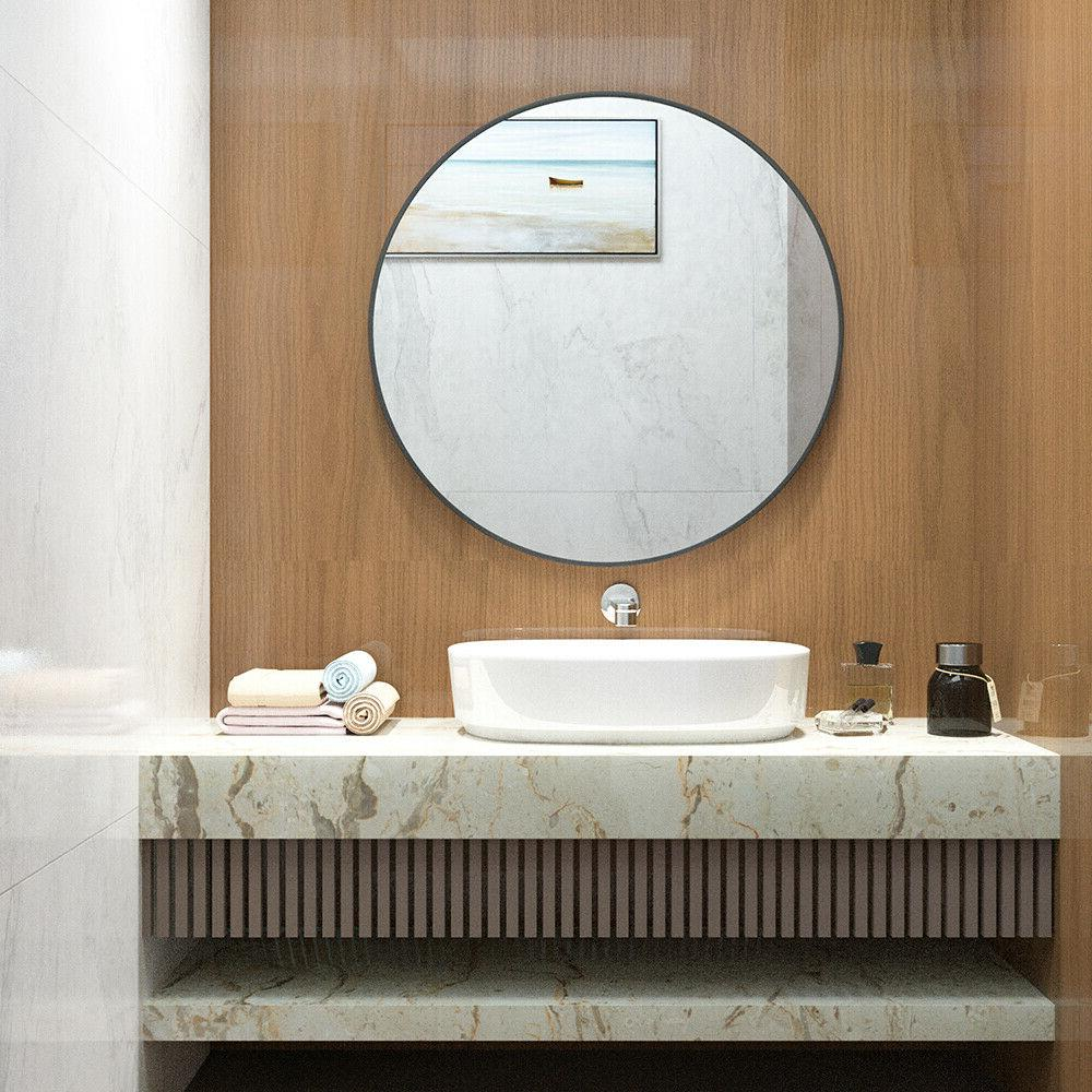 24 Round Mirror With Black Frame for room,