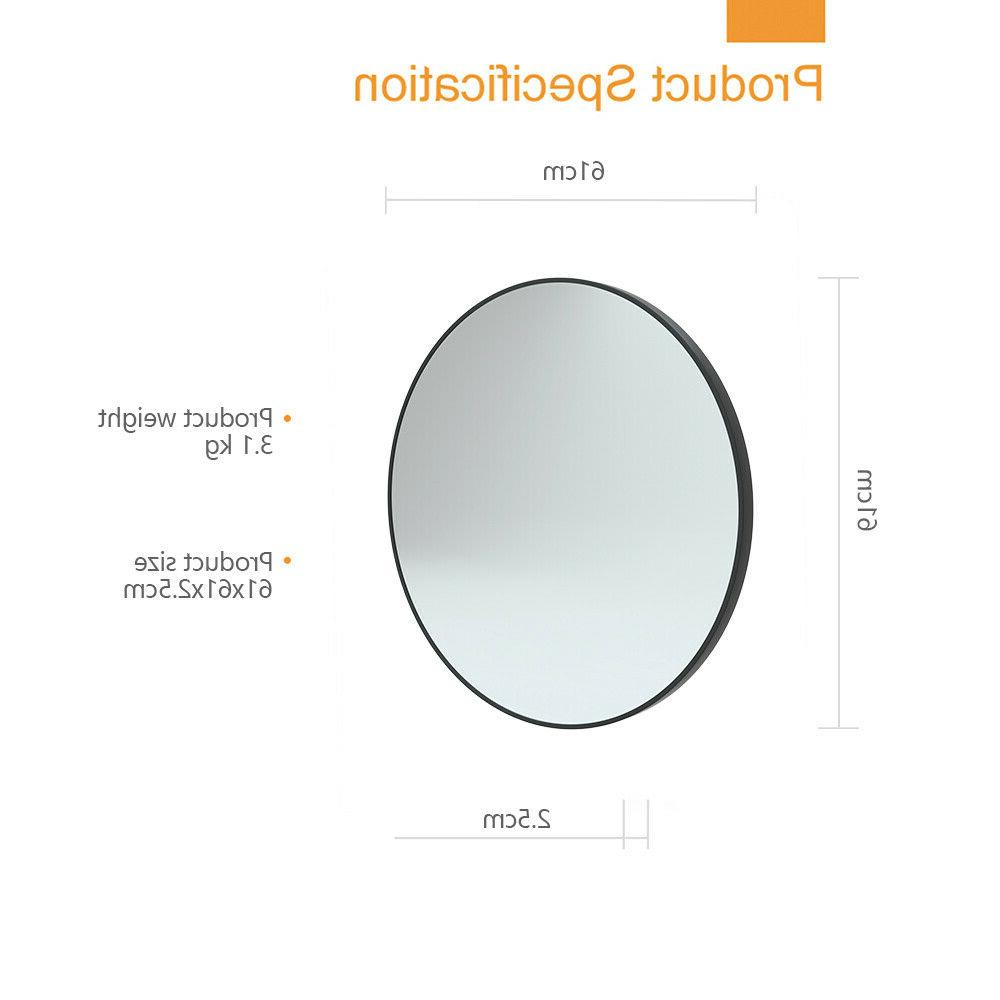 24 inch Round Mirror With Frame Fit Living room, Bathroom
