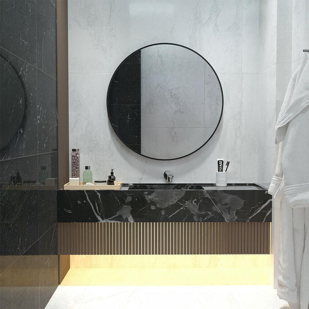 24 inch round wall mirror with black