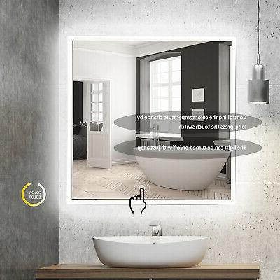 "24"" LED Lighted Bathroom Wall Mirror Aluminum Glass Touch Button"