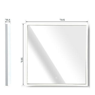 "24"" Lighted Wall Mirror 3 Aluminum Button"