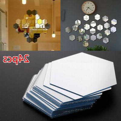 24pcs Acrylic Mirrors Wall Stickers Home Decor Living Room D