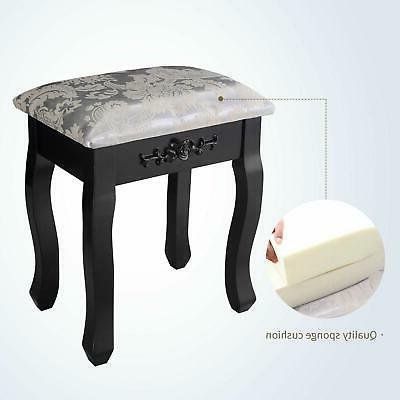 Vanity Makeup Wood Desk Stool black