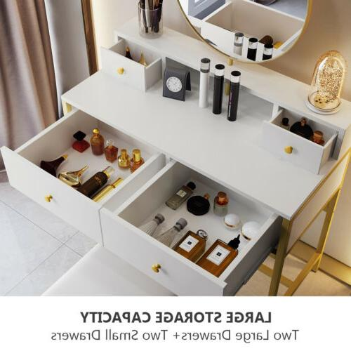 4 Storage Table with Round and Vanity Set