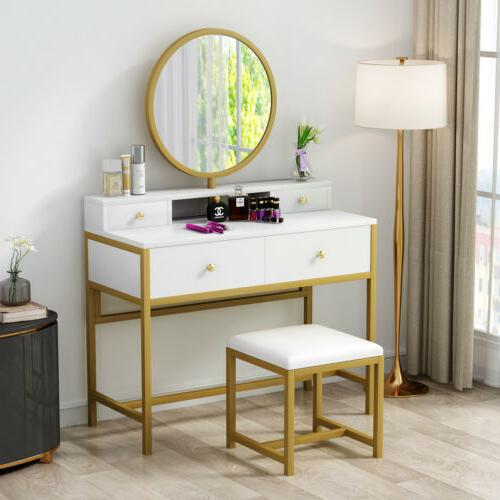 4 Storage Table Mirror and Bench Vanity Set