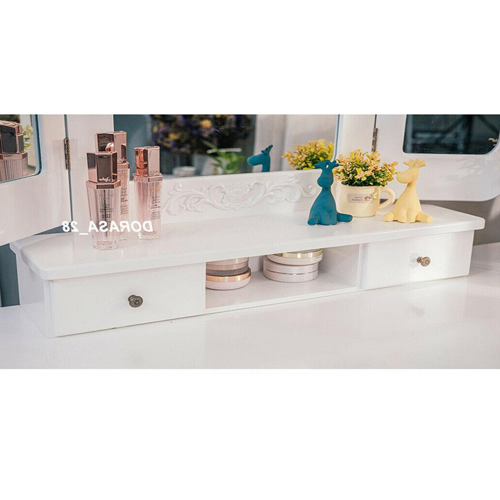 Vanity Makeup Dressing Set Wood Desk White