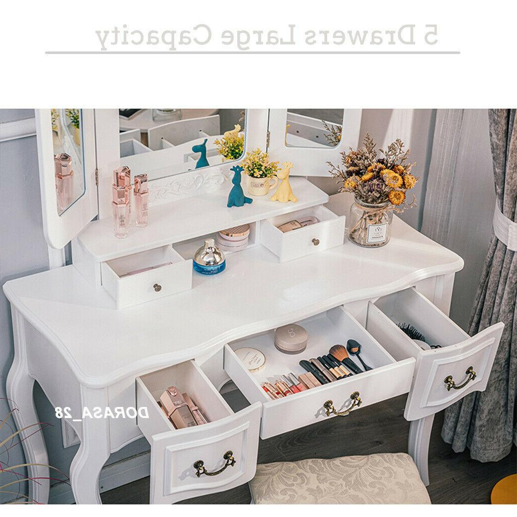 5 Drawers Vanity Makeup Set With Stool Desk White