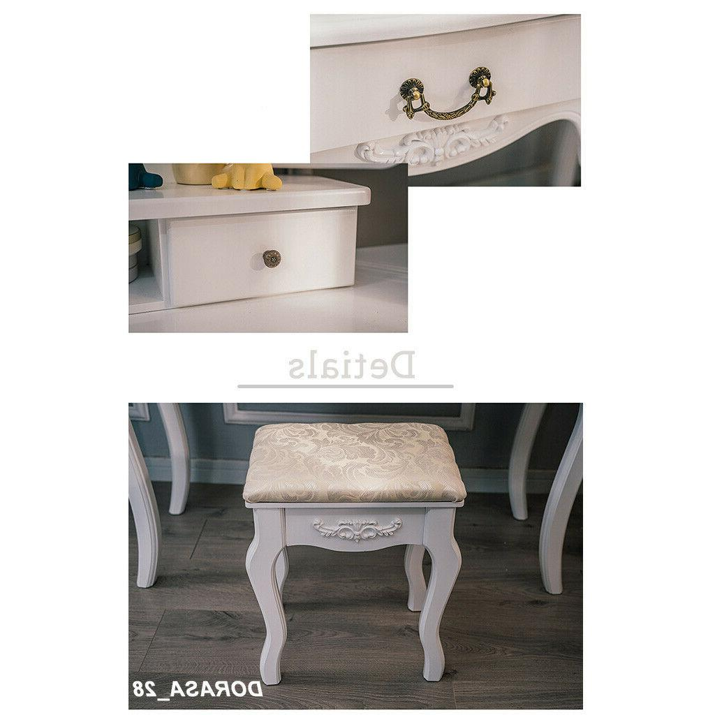 5 Vanity Dressing Set With Stool Wood Desk