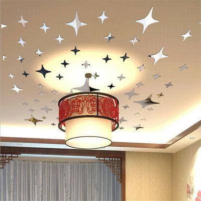 50PCS Mirror Decal Ceiling Removable