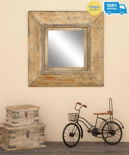 Deco Glass Style Mirror Old Look Square