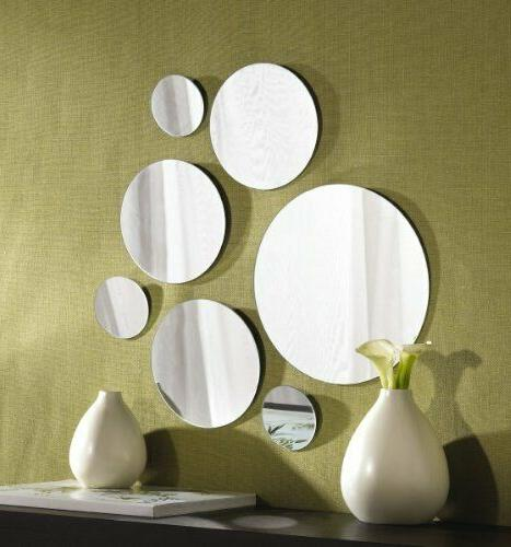 7-Pc Mirror Round Set Hanging Wall Mount Decor Modern Vintag