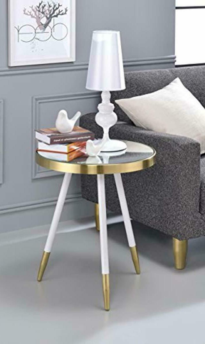 Acme End Table, Brass/White