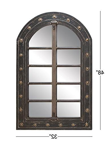 "Deco Rustic Arched Window Wall Mirror, 32"" Finish"