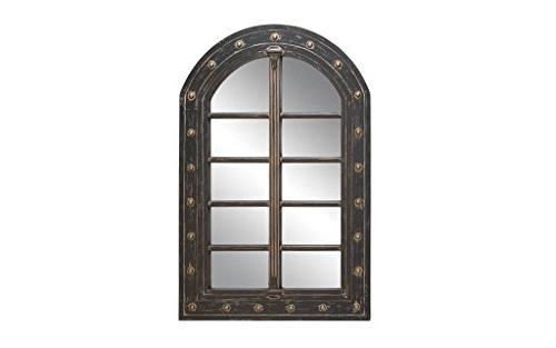 Deco 79 Rustic Wooden Arched Window Framed Wall Mirror, 48""