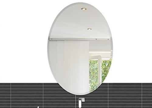 Fab Glass and Mirror Oval Beveled Polish Frameless Wall Mirr