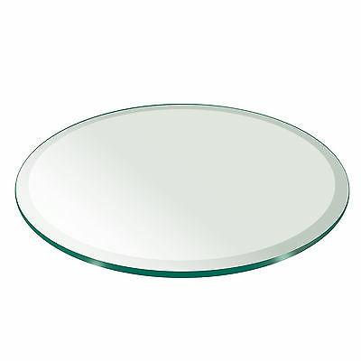 """Fab Glass and Mirror Round Clear Glass Table Top with 1"""" Bev"""