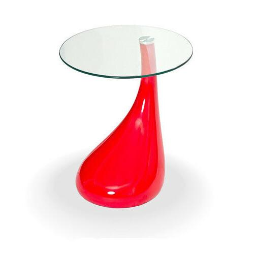 Fab Glass and Mirror Tear Drop Side Table with Round Glass T