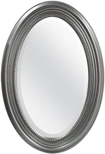 MCS Beaded Oval Wall Mirror, 21x31 Inch Overall Size, Silver
