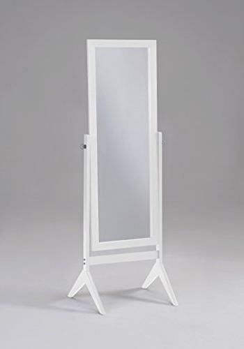 White Finish Wooden Cheval Bedroom Free Standing Floor Mirro