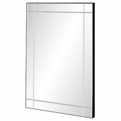 bcp 36x24in decorative rectangular frameless wall mirror
