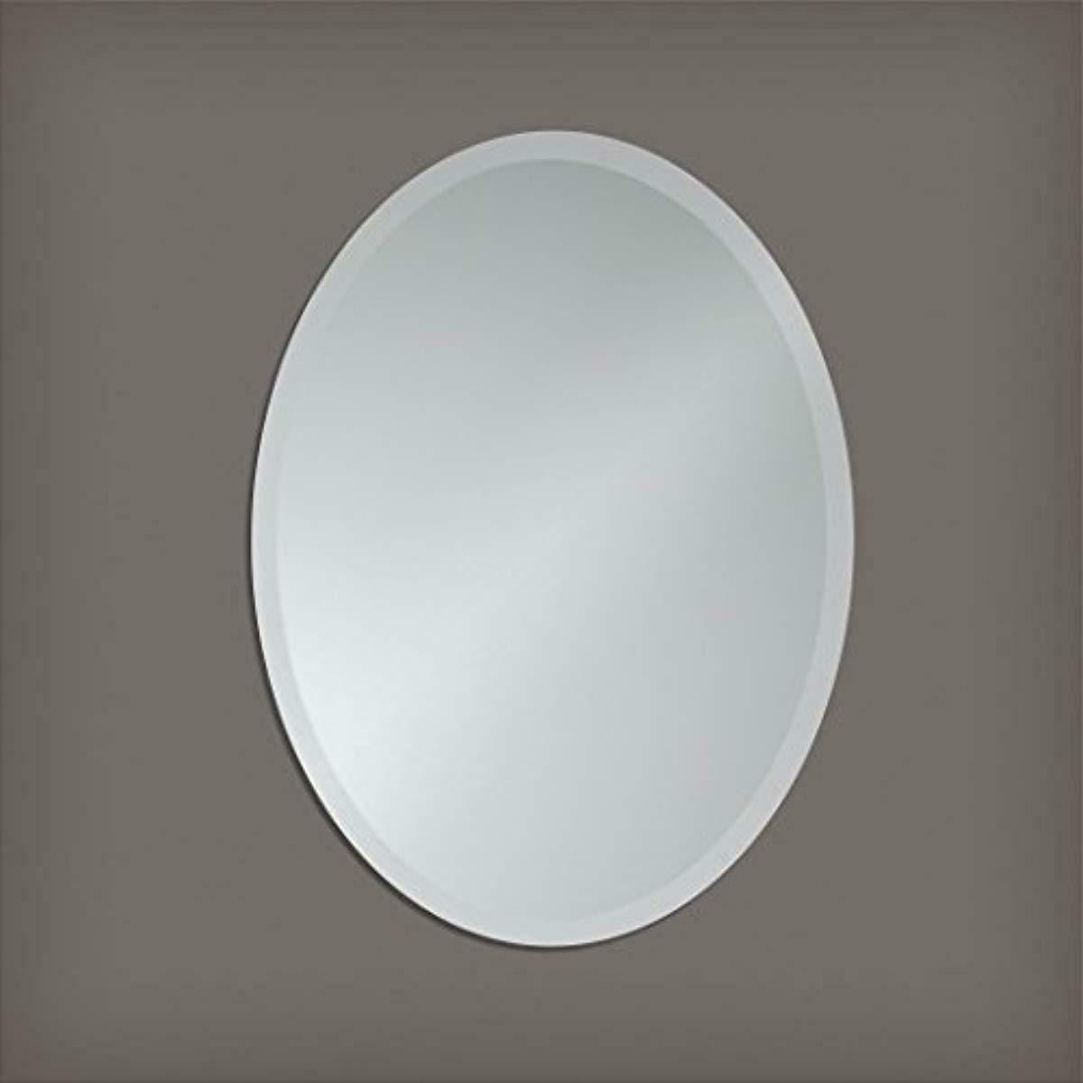 Beveled Oval Makeup Mirror Small Frameless Bedroom