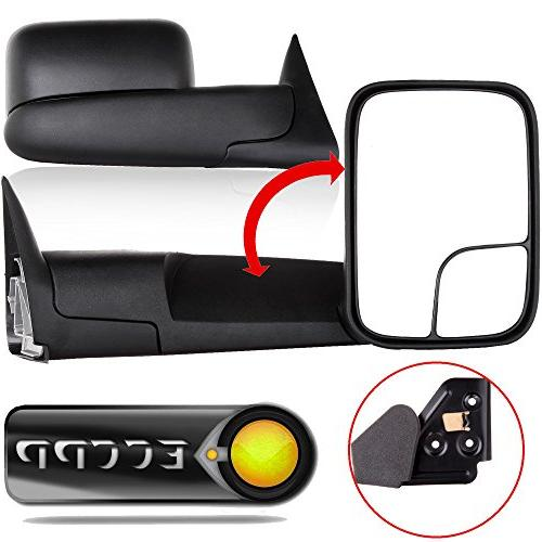 black manual adjusted side view mirror tow