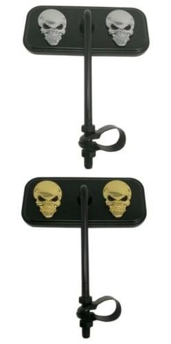 Black Rectangle Bicycle Mirror Double Skull Beach Cruiser Lo
