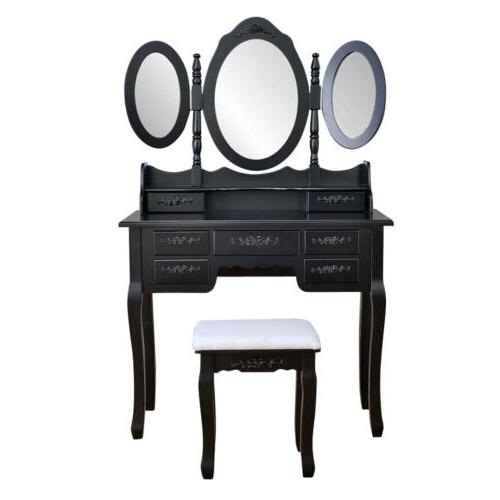 3 Mirror 7 Drawer Wood Desk Set Stool black