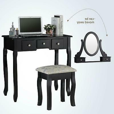 Black Dressing Table Set With 5 Drawers Bedroom