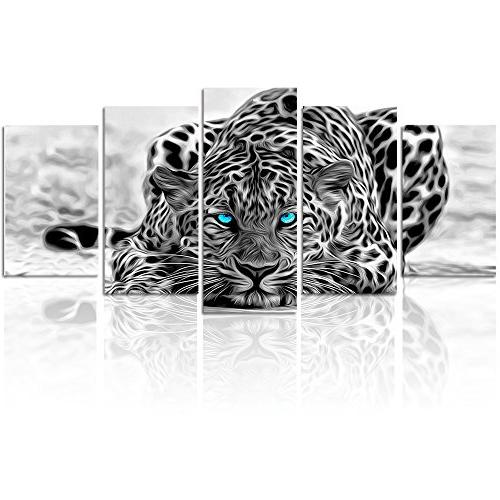 Black and White Animal Canvas Wall Art,Abstract Leopard Canv