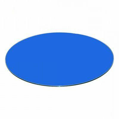 blue back painted round glass table top