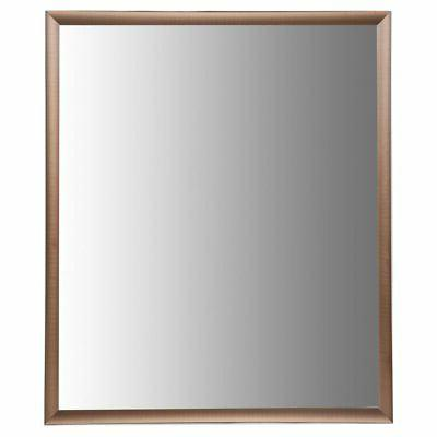 brushed aluminum bathroom vanity mirror with molding