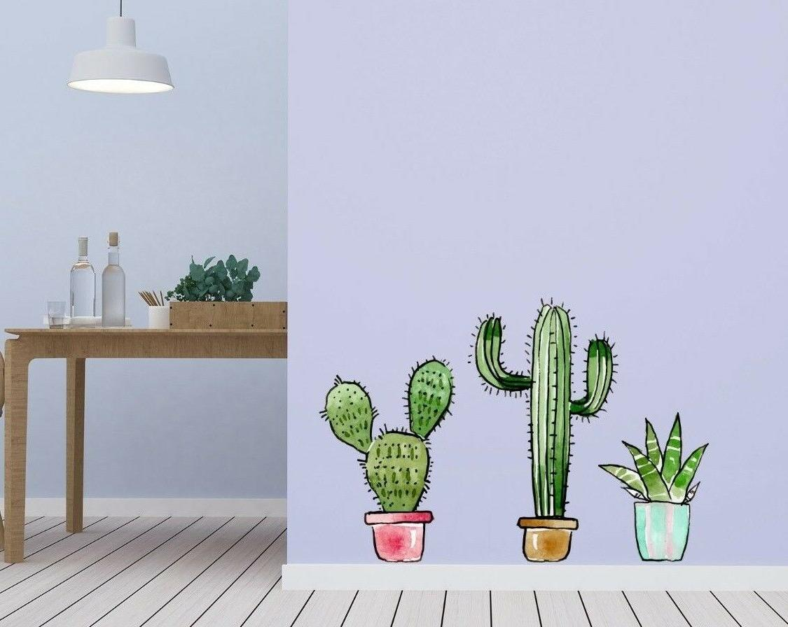 cactus wall decal for home interior decoration