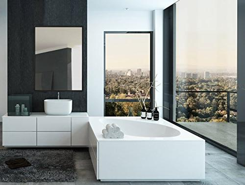 Hamilton Modern Mirror | Contemporary Premium Silver Floating Glass Panel Bedroom, or Bathroom Rectangle Horizontal Vertical