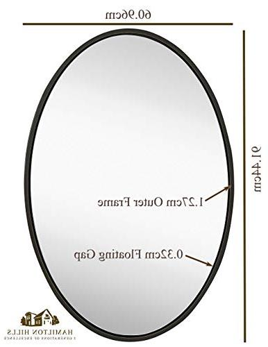 Hamilton Clean Modern Wenge Oval Frame Wall Mirror Contemporary Premium Bedroom, Hangs or Vertical