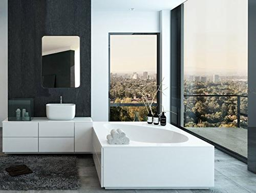 Hamilton Metal Wall Mirror Glass Rounded Corner Design   Mirrored Rectangle Hangs Horizontal or Vertical