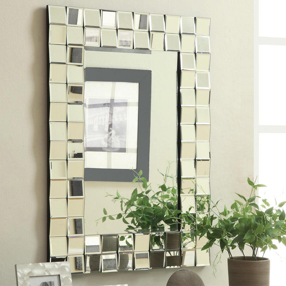Contemporary Rectangular Wall Mirror In Silver Finish By Coa