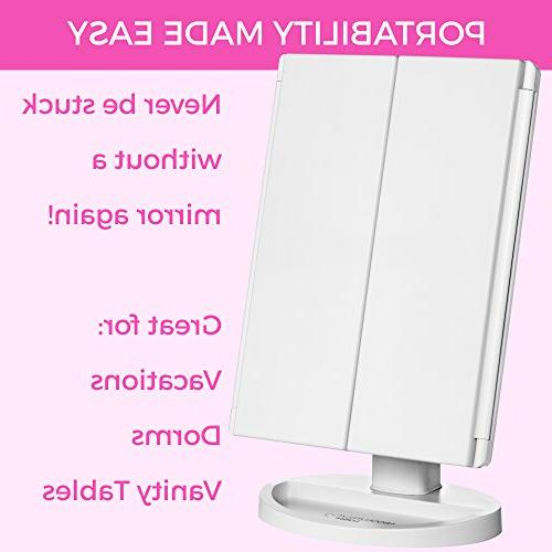 Absolutely Lush Makeup Mirror Mirror Lights, Screen Tri-Fold 1x 2X Definition Cosmetic Light Up Mirror