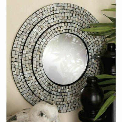 decmode contemporary round wall mirror set of