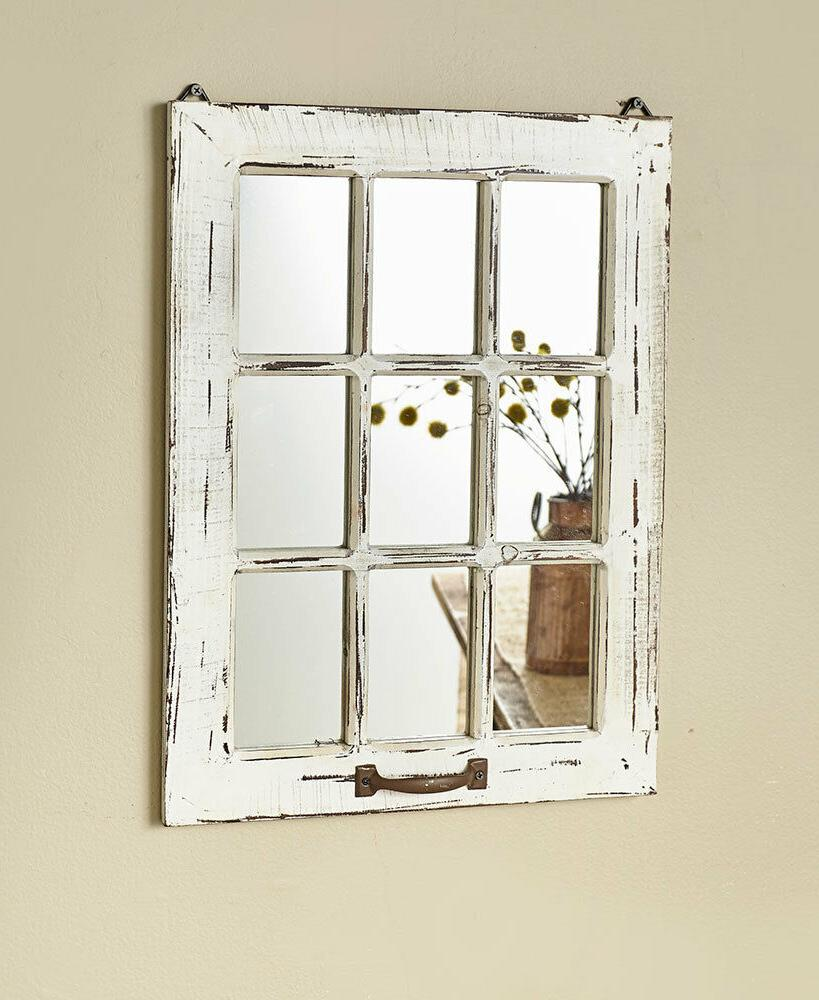 distressed wood windowpane mirror country farmhouse home
