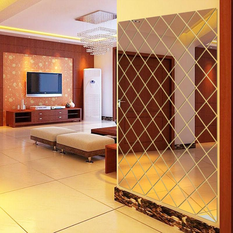 DIY 3D Stickers Mirror Wall Reflection Home Living F2