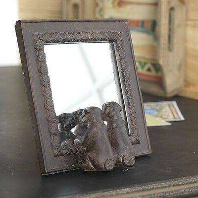 dog mirror table top 2 dogs puppies