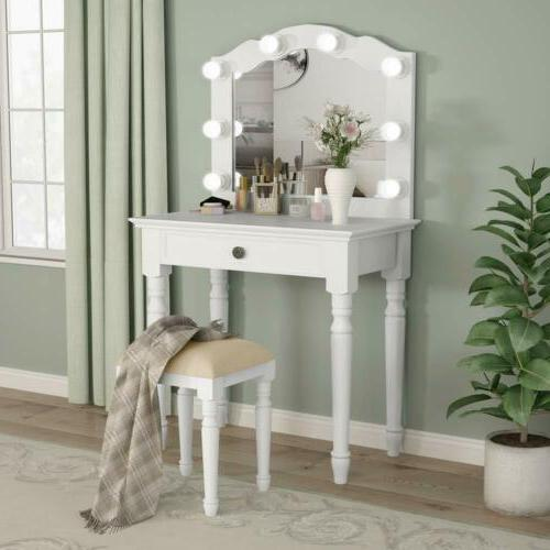 White Lighted Mirror Drawer Table