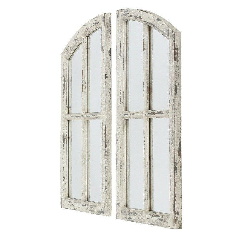 Farm Mirror Arched Cottage Chic Distressed Window Pane Deco