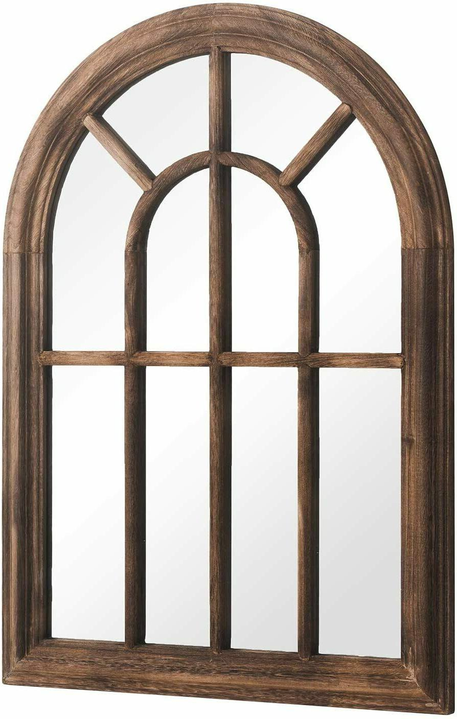 Brown Hanging Mirror Wood Arched Decorative