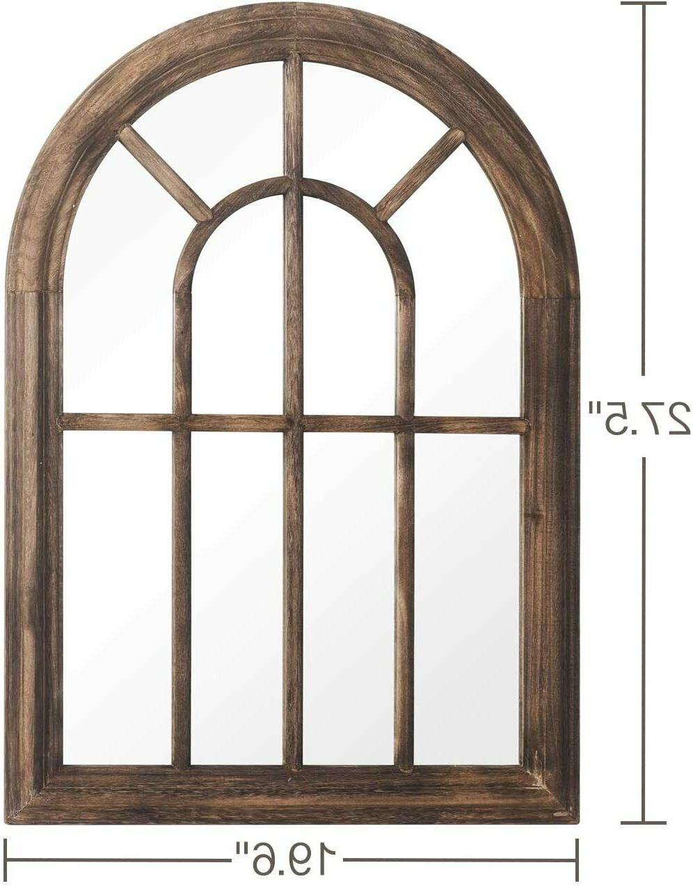 Fashion Torched Wall Hanging Mirror Wood Arched Home New