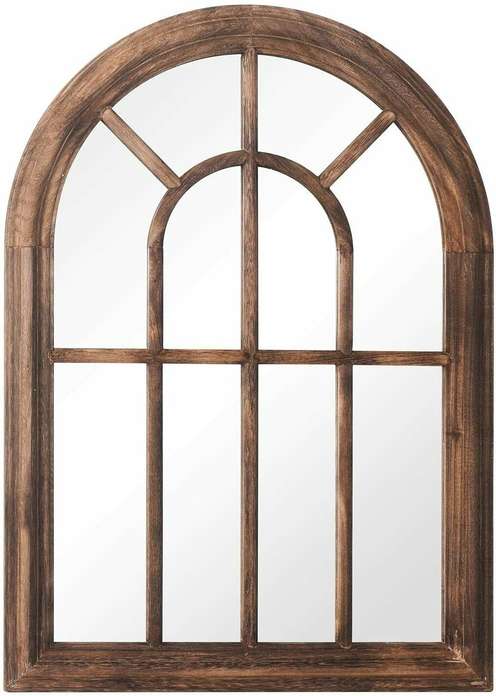 Brown Torched Mirror Frame Arched Wall Decor